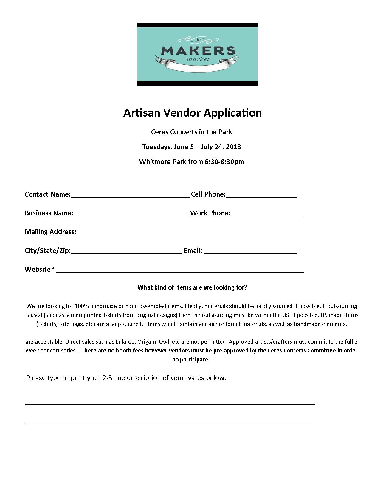Application front page