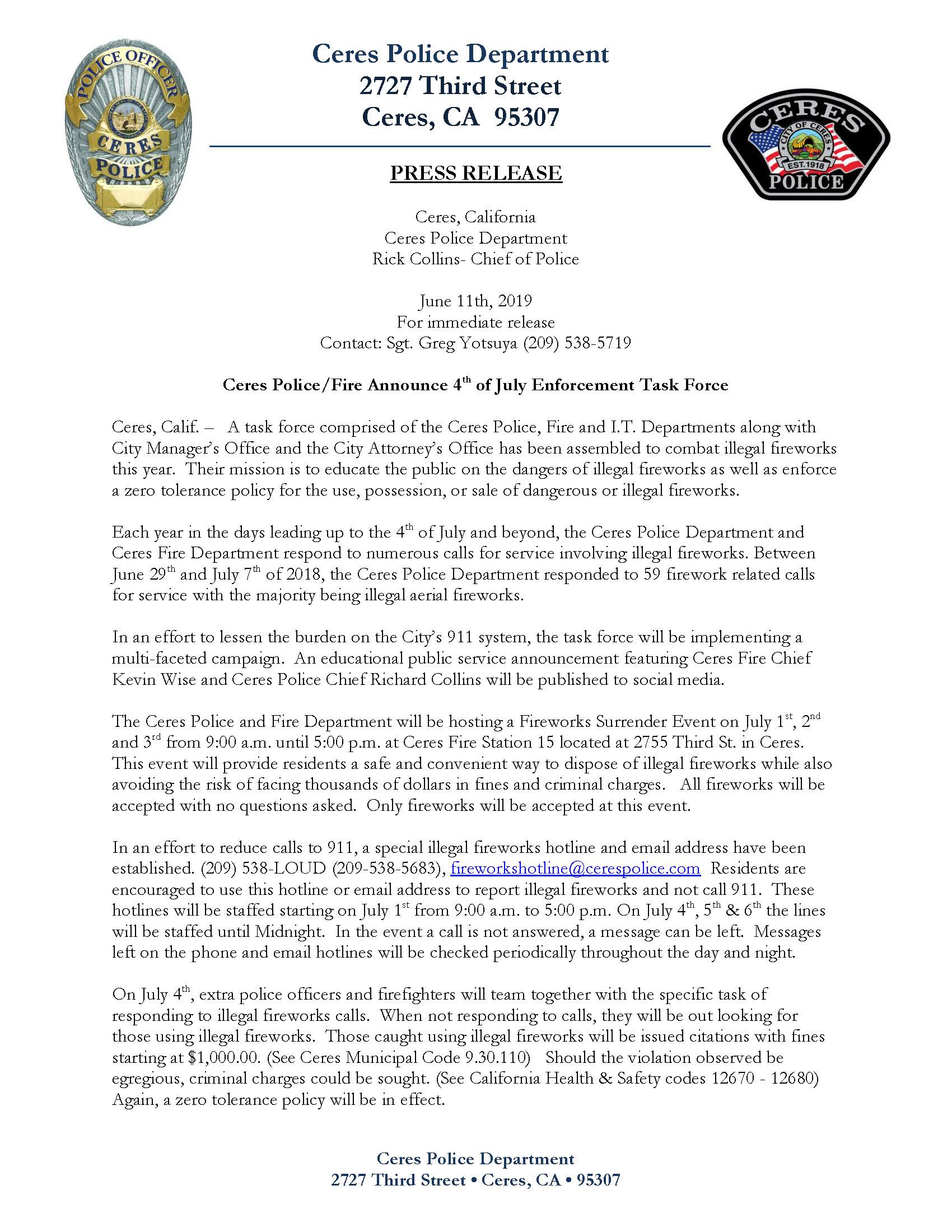 5-30-19 Press Release, 4th of July Task Force